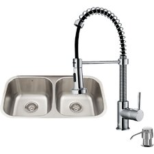 32 inch Undermount 50/50 Double Bowl 18 Gauge Stainless Steel Kitchen Sink with Edison Stainless Steel Faucet, Two Grids, Two Strainers and Soap Dispenser