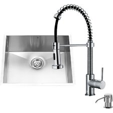 23 inch Undermount Single Bowl 16 Gauge Stainless Steel Kitchen Sink with Edison Stainless Steel Faucet, Grid, Strainer and Soap Dispenser