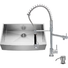 36 inch Farmhouse Apron Single Bowl 16 Gauge Stainless Steel Kitchen Sink with Zurich Chrome Faucet, Grid, Strainer and Soap Dispenser