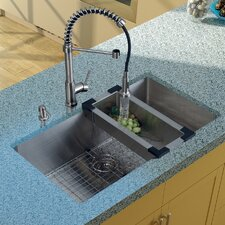 32 inch Undermount Single Bowl 16 Gauge Stainless Steel Kitchen Sink with Edison Stainless Steel Faucet, Grid, Strainer, Colander and Soap Dispenser