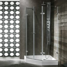 Gemini 47.625 x 47.625-in. Frameless Neo-Angle Shower Enclosure with .375-in. Clear Glass and Chrome Hardware
