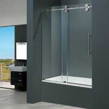 Elan 56 to 60-in. Frameless Sliding Tub Door with .375-in. Clear Glass and Chrome Hardware