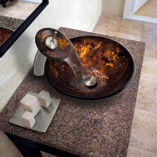 Brown and Gold Fusion Glass Vessel Bathroom Sink and Waterfall Faucet with Pop Up