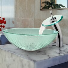 Icicles Glass Vessel Bathroom Sink and Waterfall Faucet with Pop Up