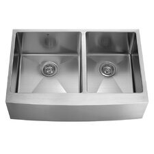 """36"""" x 22.25"""" x 10"""" Double Bowl Farmhouse Kitchen Sink with Grid and Strainer"""