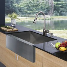 33 inch Farmhouse Apron Single Bowl 16 Gauge Stainless Steel Kitchen Sink with Aylesbury Stainless Steel Faucet, Grid, Strainer and Soap Dispenser