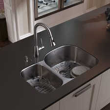 31 inch Undermount 70/30 Double Bowl 18 Gauge Stainless Steel Kitchen Sink with Aylesbury Stainless Steel Faucet, Two Grids, Two Strainers and Soap Dispenser