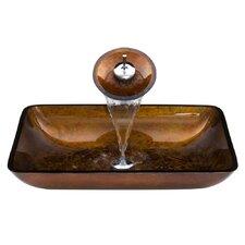 Rectangular Russet Glass Vessel Bathroom Sink and Waterfall Faucet with Pop Up