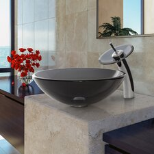 Sheer Black Glass Vessel Bathroom Sink and Waterfall Faucet with Pop Up