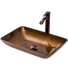 Rectangular Brown and Gold Fusion Glass Vessel Bathroom Sink and Otis Vessel Faucet with