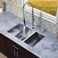 """29"""" x 20"""" Zero Radius Double Bowl Kitchen Sink with Sprayer Faucet"""