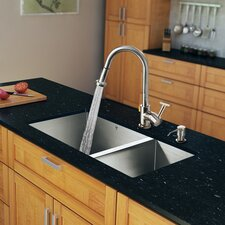 """29"""" x 20"""" Zero Radius Double Bowl Kitchen Sink with Pull-Out Sprayer Faucet"""