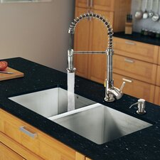 "32"" x 19"" Zero Radius Double Bowl Kitchen Sink with Sprayer Faucet"