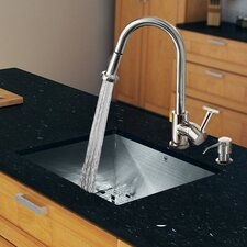 """23"""" x 20"""" Zero Radius Single Bowl Kitchen Sink with Pull-Out Sprayer Faucet"""