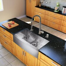 33 inch Farmhouse Apron Single Bowl 16 Gauge Stainless Steel Kitchen Sink with Edison Chrome Faucet, Grid, Strainer and Soap Dispenser
