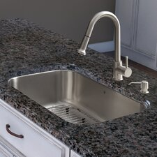 30 inch Undermount Single Bowl 18 Gauge Stainless Steel Kitchen Sink with Harrison Stainless Steel Faucet, Grid, Strainer and Soap Dispenser