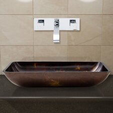 Rectangular Brown and Gold Fusion Glass Vessel Bathroom Sink and Titus Wall Mount Faucet with Pop Up