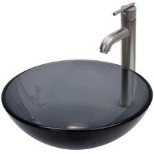 Sheer Black Glass Vessel Bathroom Sink and Seville Vessel Faucet with Pop Up