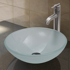 White Frost Vessel Sink and Seville Vessel Faucet with Pop Up