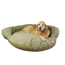 Velvet Microfiber Bolster Dog Bed in Sage