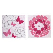 2 Piece Butterfly Bouquet Canvas Art Set