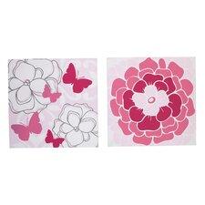 2 Piece Butterfly Bouquet Canvas Art Set