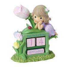 """Girl with Tulip Flower Perpetual Calendar"" Figurine"