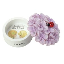 """Decorative """"Love Is Time Spent with a Friend"""" Hydrangea Trinket Box"""
