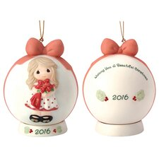 """Wishing You a Beautiful Christmas"" 2016 Dated Bisque Porcelain Ornament"
