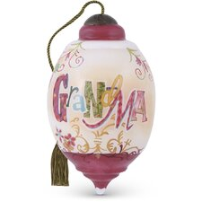 """Grandma"" Petite Trillion Shaped Glass Ornament by Connie Haley"