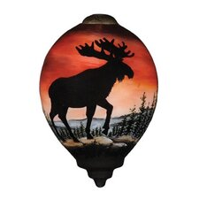 """""""Moose Silhouette"""" Petite Princess Shaped Glass Ornament by Betty Padden"""