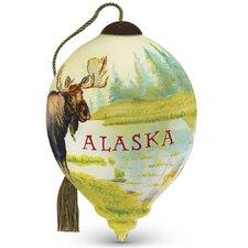 """Alaska Moose"" Petite Princess Shaped Glass Ornament by Lee Stroncek"