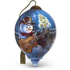 """""""Country Christmas"""" Petite Princess Shaped Glass Ornament by Dona Gelsinger"""