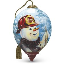 """Firefighter Snowman"" Petite Princess Shaped Glass Ornament by Dona Gelsinger"