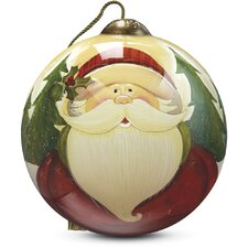 """""""Santa"""" Petite Round Shaped Glass Ornament by Angela Anderson"""