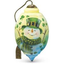 """Irish Snowman"" Petite Trillion Shaped Glass Ornament by Dona Gelsinger"