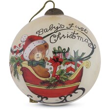 """""""Baby's First Christmas"""" Petite Round Shaped Glass Ornament by Susan Winget"""