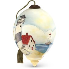 """""""By the Beautiful Sea"""" Petite Princess Shaped Glass Ornament by Susan Winget"""
