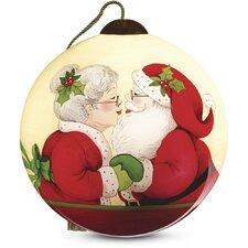 """Merry Kissmas!"" Petite Round Shaped Glass Ornament by Susan Winget"