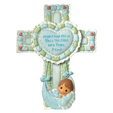 Precious Little Blessings Baby Boy Cross Figurine