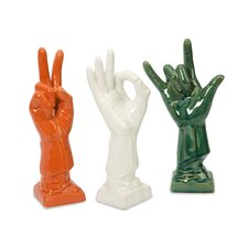 Cohen 3 Piece Ceramic Hand Sculpture Set