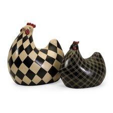 2 Piece Herrick Chicken Figurine Set