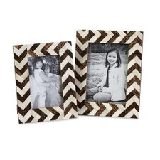 2 Piece Zig Zag Bone Inlay Picture Frame Set