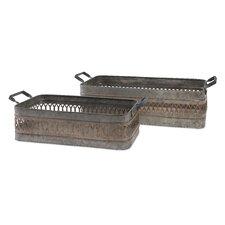 2 Piece Stanley Iron Bin Set