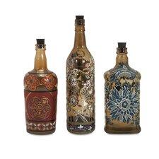 Reclaimed Hand-Painted Decorative 3 Piece Bottle Set