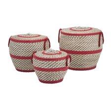 Lauren 3 Piece Lidded Basket Set