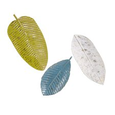 3 Piece Palm Beach Leaf Tray Wall Décor Set