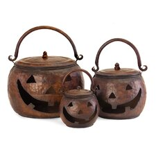 3 Piece Decorative Lidded Pumpkin Set
