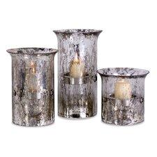 Mercury Glass Hurricanes (Set of 3)