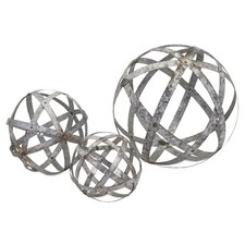 Demi 3 Piece Galvanized Sphere Sculpture Set